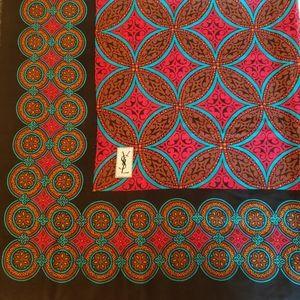 YSL Vintage Large Tile Print Wool Scarf Wrap